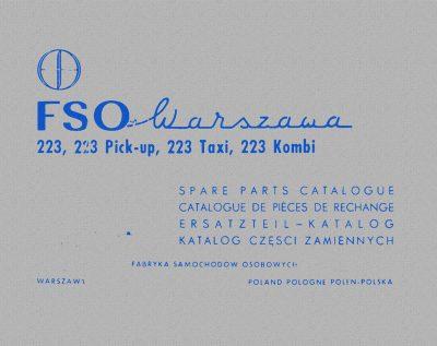 Katalog części zamiennych FSO WARSZAWA 223