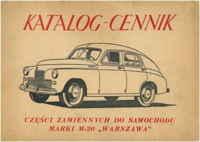 Katalog cennik części zamiennych FSO WARSZAWA M20