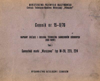 Cennik – naprawy bieżące i obsługa techniczna samochodów Warszawa M20, 223, 224