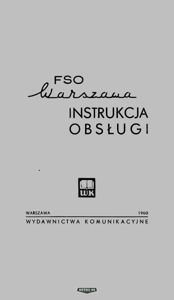 Okładka Instrukcja obsługi FSO WARSZAWA M20