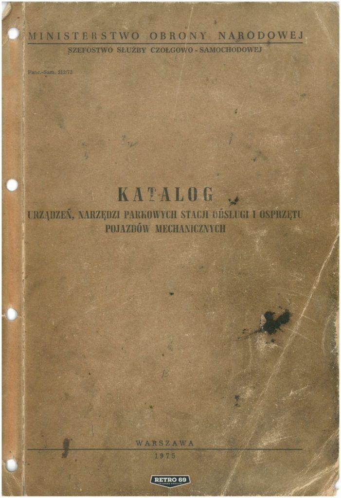 Okładka Katalog urządzeń, narzedzi parkowych stacji obsługi i osprzętu pojazdów mechanicznych
